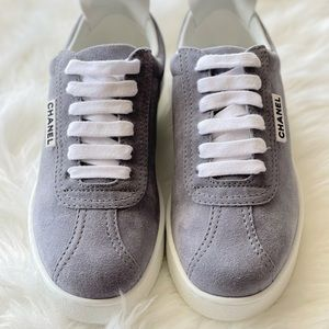Chanel | Grey Suede Lace Up Sneakers 8.5